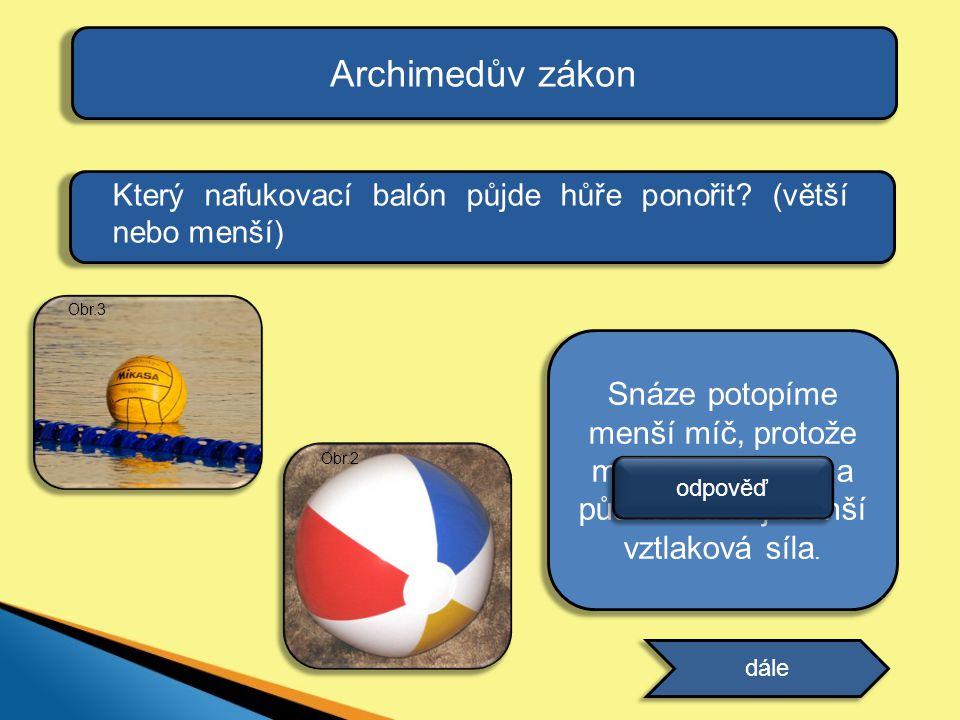 Archimedův zákon Který nafukovací balón půjde hůře ponořit? (větší nebo menší) dále Snáze potopíme menší míč, protože má menší objem a působí na něj m