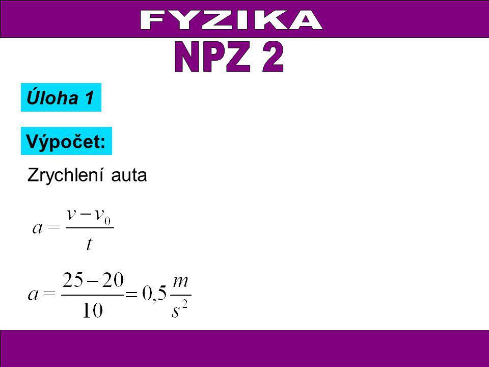 Výpočet: Zrychlení auta Úloha 1