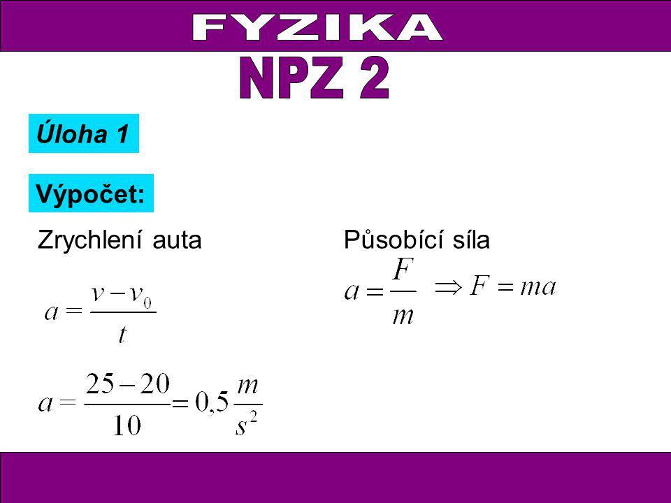 Výpočet: Zrychlení autaPůsobící síla Úloha 1