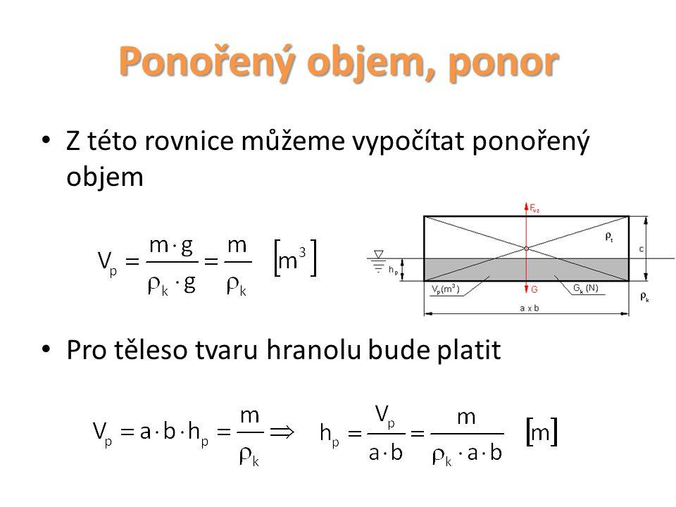 Ponořený objem, ponor Z této rovnice můžeme vypočítat ponořený objem Pro těleso tvaru hranolu bude platit