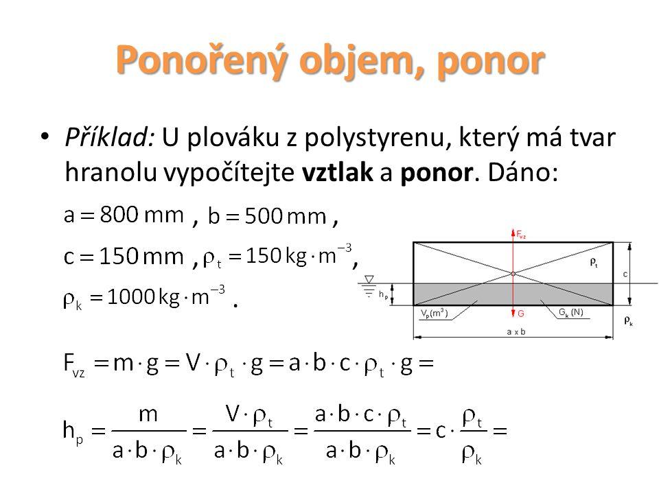 Ponořený objem, ponor Příklad: U plováku z polystyrenu, který má tvar hranolu vypočítejte vztlak a ponor. Dáno:,,.