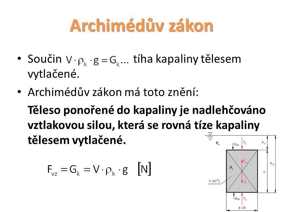 Archimédův zákon Součin tíha kapaliny tělesem vytlačené. Archimédův zákon má toto znění: Těleso ponořené do kapaliny je nadlehčováno vztlakovou silou,