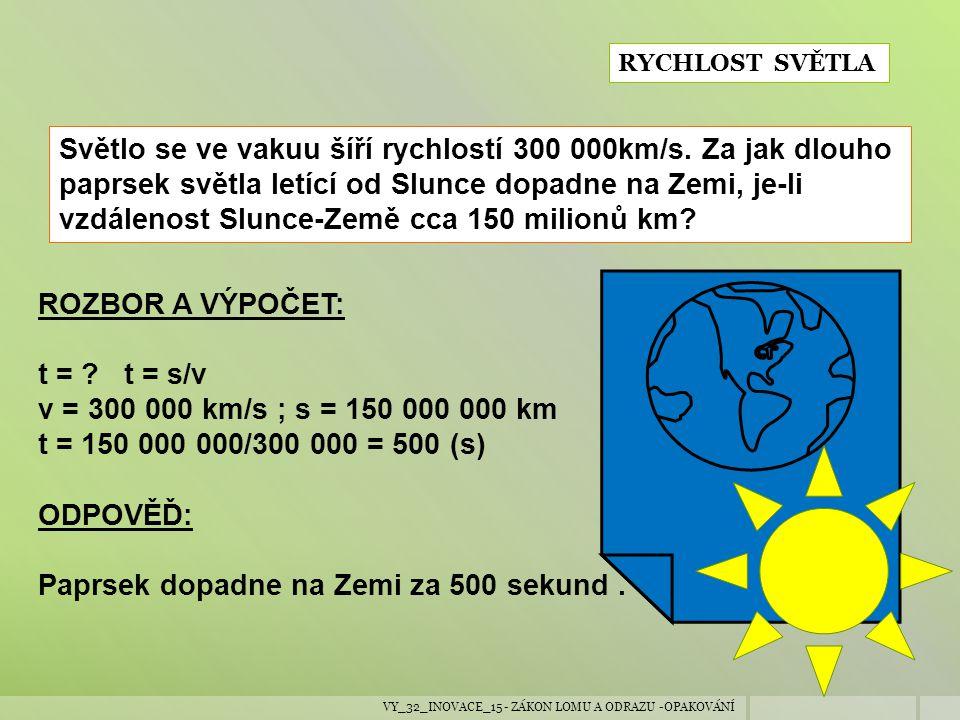 VY_32_INOVACE_15 - ZÁKON LOMU A ODRAZU -OPAKOVÁNÍ RYCHLOST SVĚTLA Světlo se ve vakuu šíří rychlostí 300 000km/s. Za jak dlouho paprsek světla letící o