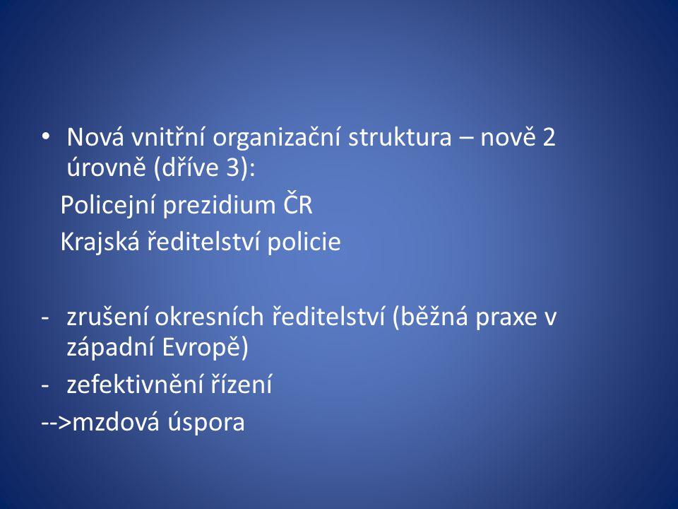 Nová vnitřní organizační struktura – nově 2 úrovně (dříve 3): Policejní prezidium ČR Krajská ředitelství policie -zrušení okresních ředitelství (běžná