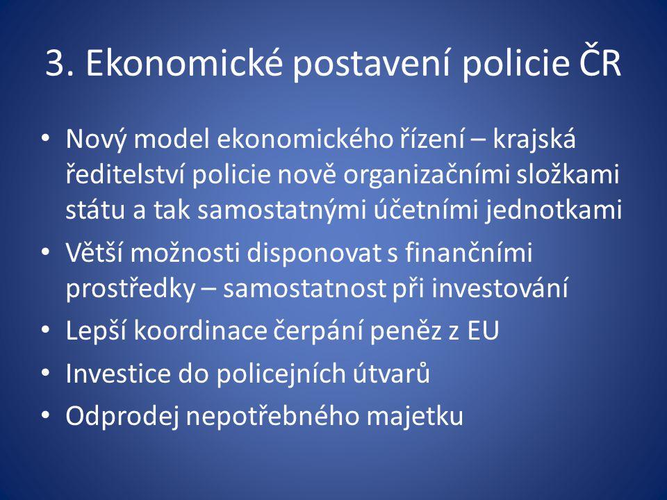 3. Ekonomické postavení policie ČR Nový model ekonomického řízení – krajská ředitelství policie nově organizačními složkami státu a tak samostatnými ú