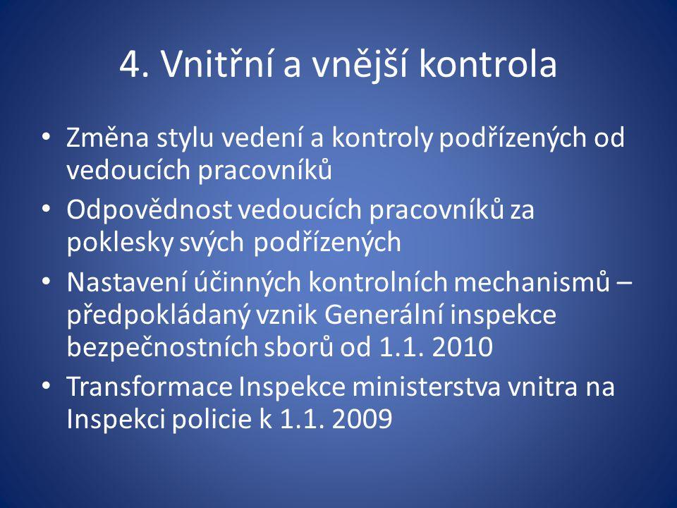 4. Vnitřní a vnější kontrola Změna stylu vedení a kontroly podřízených od vedoucích pracovníků Odpovědnost vedoucích pracovníků za poklesky svých podř