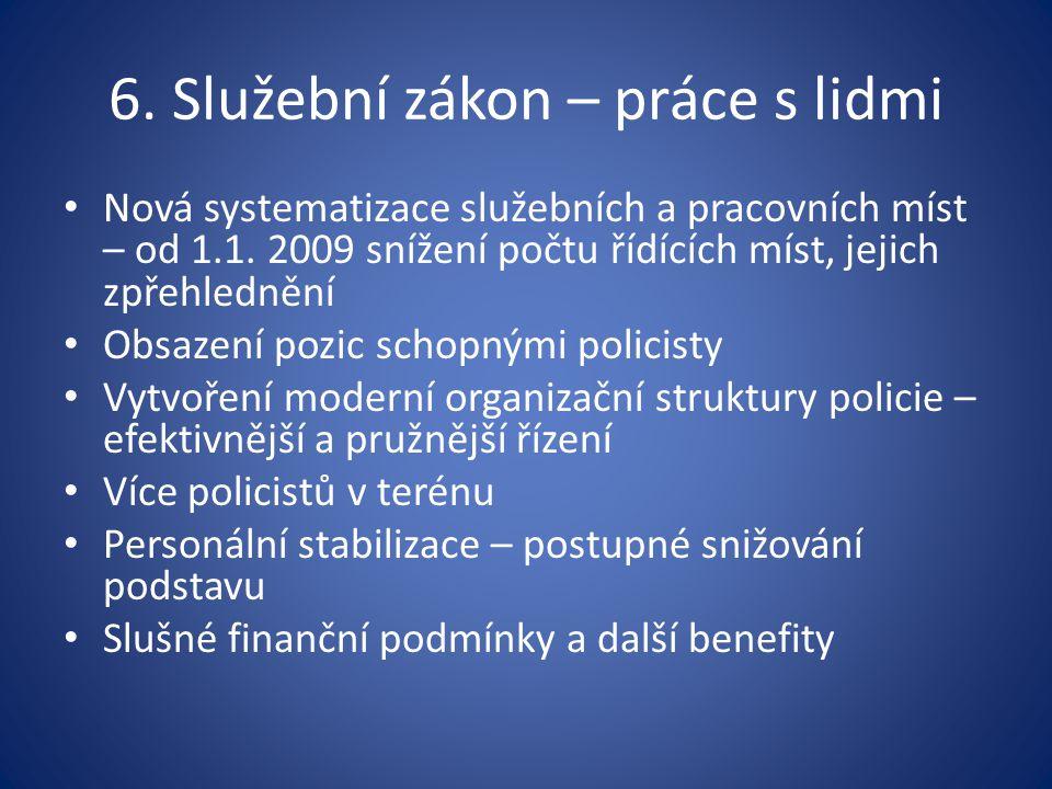 6. Služební zákon – práce s lidmi Nová systematizace služebních a pracovních míst – od 1.1. 2009 snížení počtu řídících míst, jejich zpřehlednění Obsa