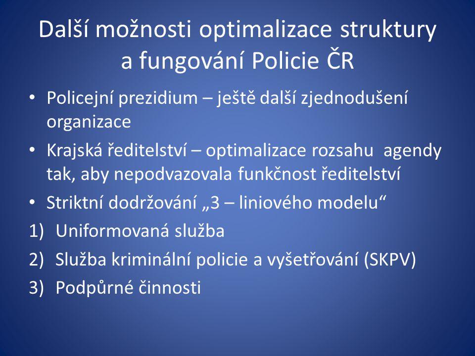 Další možnosti optimalizace struktury a fungování Policie ČR Policejní prezidium – ještě další zjednodušení organizace Krajská ředitelství – optimaliz