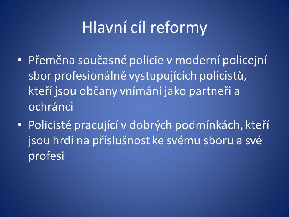 Hlavní cíl reformy Přeměna současné policie v moderní policejní sbor profesionálně vystupujících policistů, kteří jsou občany vnímáni jako partneři a
