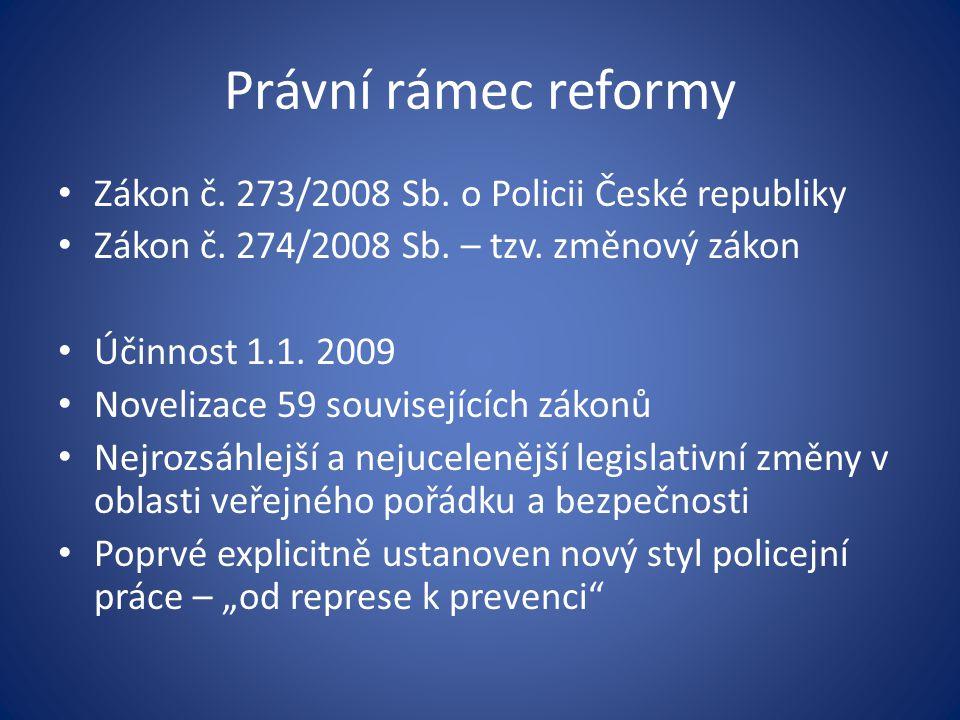 Právní rámec reformy Zákon č. 273/2008 Sb. o Policii České republiky Zákon č. 274/2008 Sb. – tzv. změnový zákon Účinnost 1.1. 2009 Novelizace 59 souvi