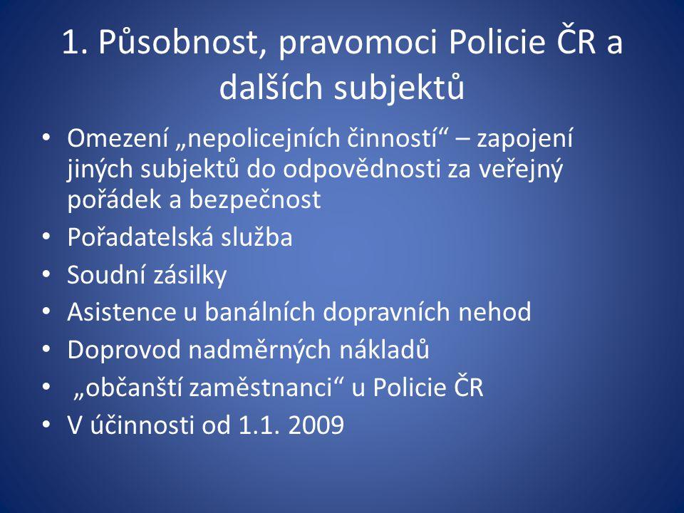 """1. Působnost, pravomoci Policie ČR a dalších subjektů Omezení """"nepolicejních činností"""" – zapojení jiných subjektů do odpovědnosti za veřejný pořádek a"""