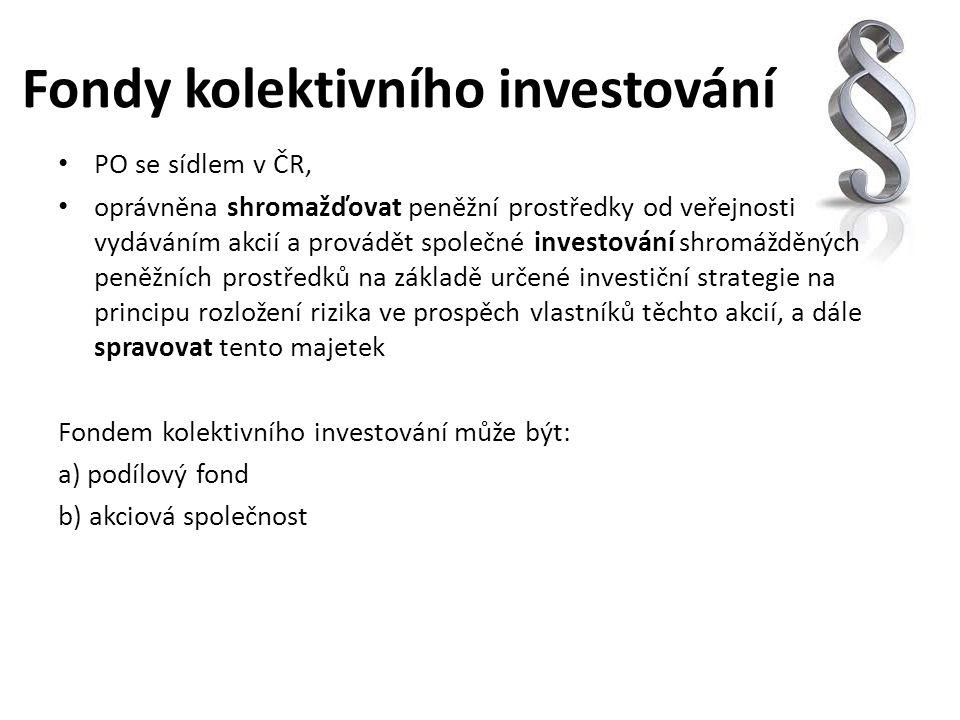 Fondy kolektivního investování PO se sídlem v ČR, oprávněna shromažďovat peněžní prostředky od veřejnosti vydáváním akcií a provádět společné investov
