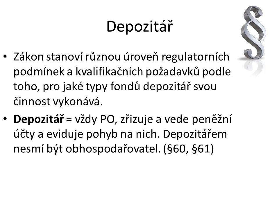 Depozitář Zákon stanoví různou úroveň regulatorních podmínek a kvalifikačních požadavků podle toho, pro jaké typy fondů depozitář svou činnost vykonáv
