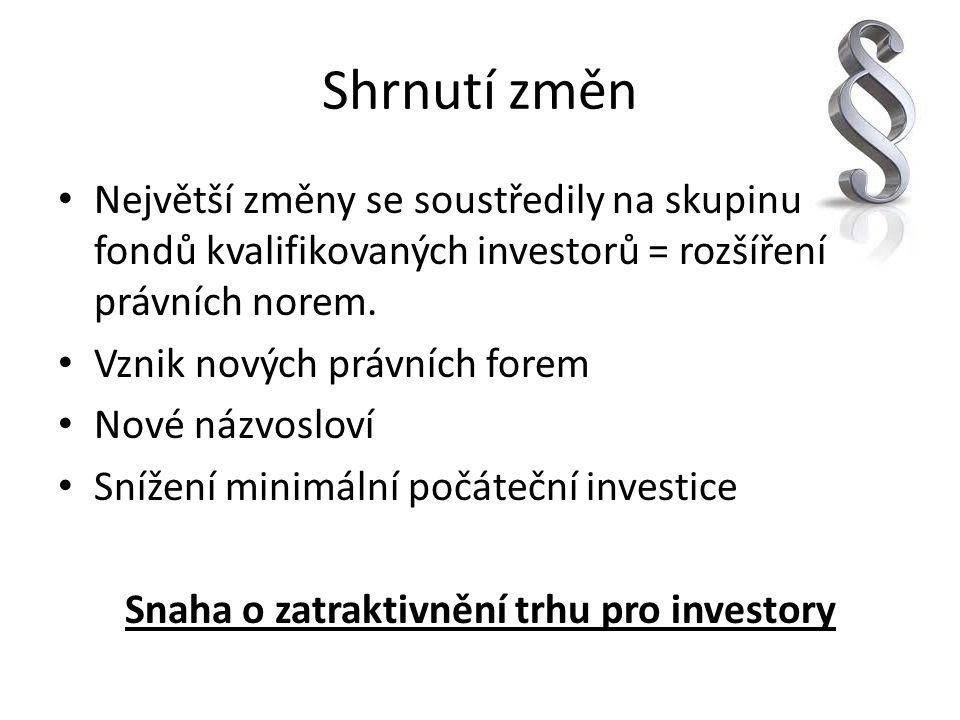 Shrnutí změn Největší změny se soustředily na skupinu fondů kvalifikovaných investorů = rozšíření právních norem. Vznik nových právních forem Nové náz