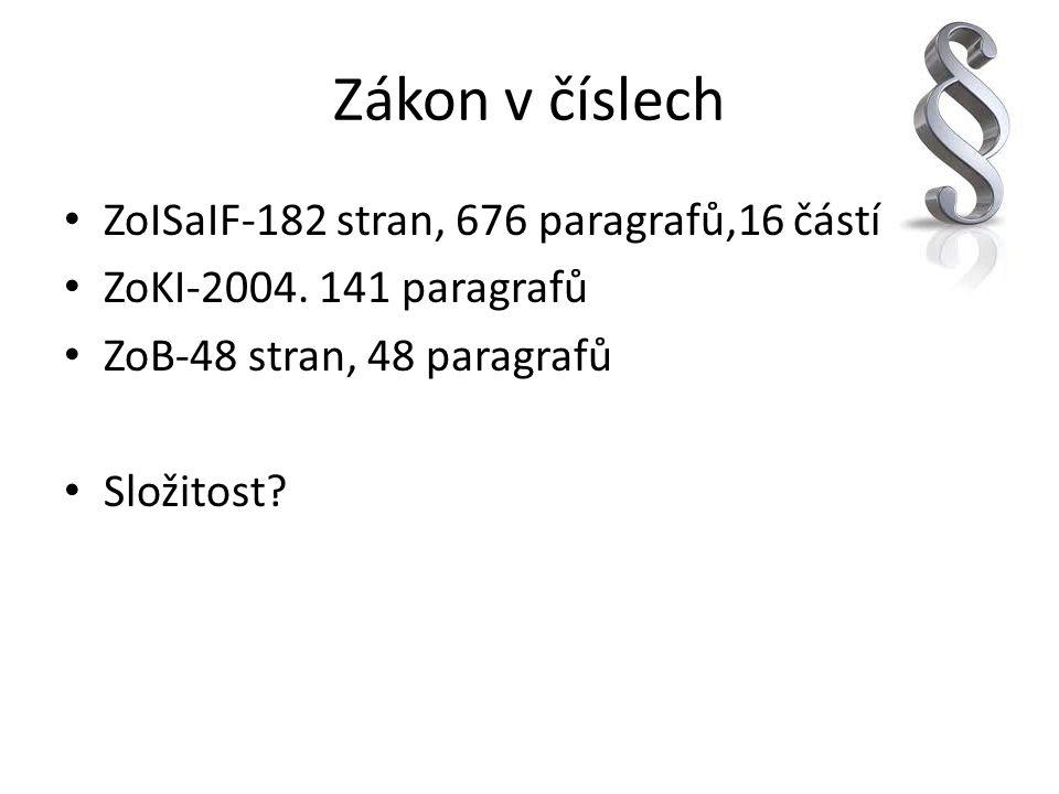 Zákon v číslech ZoISaIF-182 stran, 676 paragrafů,16 částí ZoKI-2004. 141 paragrafů ZoB-48 stran, 48 paragrafů Složitost?