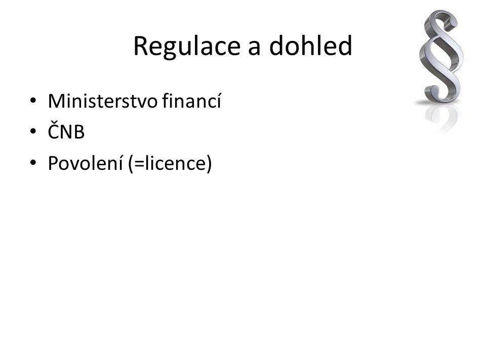 Regulace a dohled Ministerstvo financí ČNB Povolení (=licence)