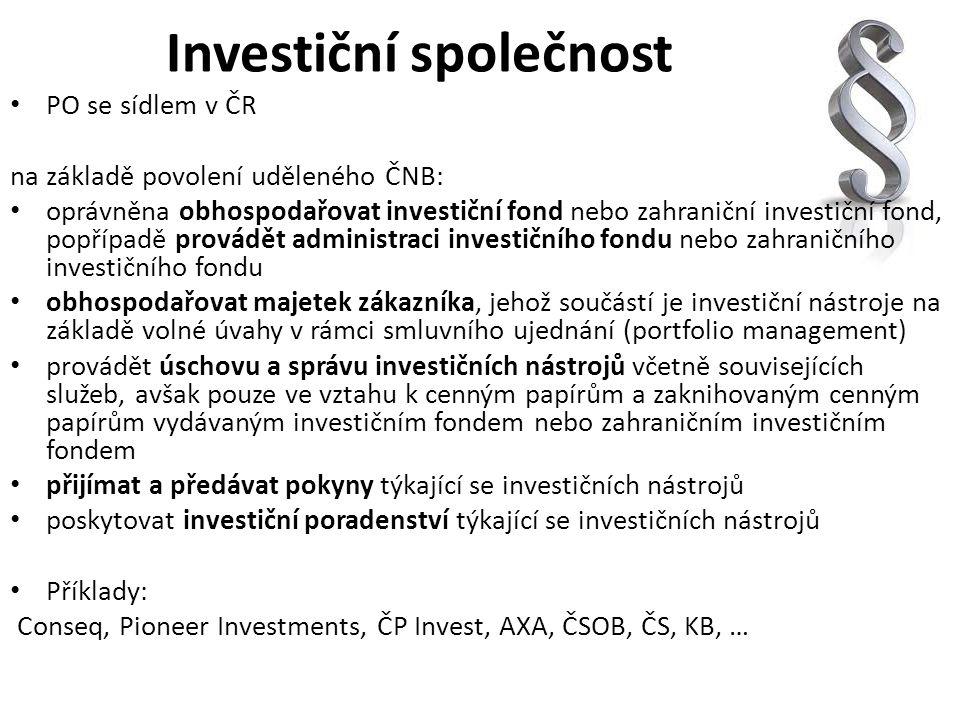 Investiční společnost PO se sídlem v ČR na základě povolení uděleného ČNB: oprávněna obhospodařovat investiční fond nebo zahraniční investiční fond, p