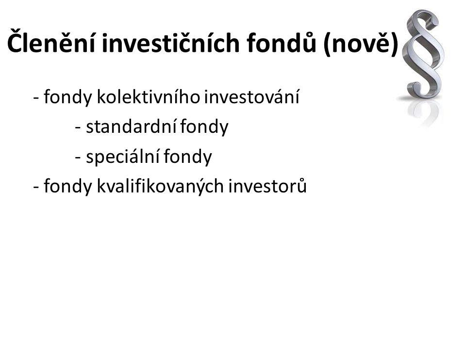 Členění investičních fondů (nově) - fondy kolektivního investování - standardní fondy - speciální fondy - fondy kvalifikovaných investorů