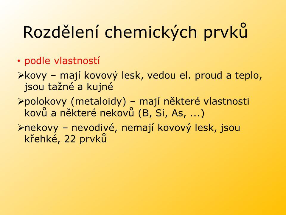 Rozdělení chemických prvků podle vlastností  kovy – mají kovový lesk, vedou el.