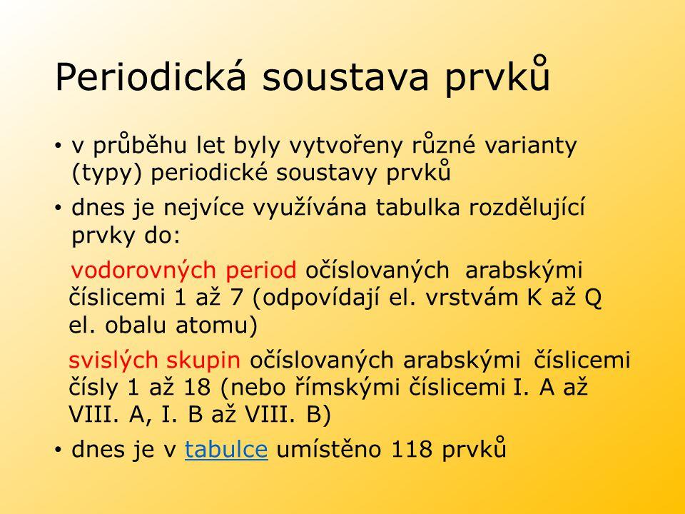 Periodická soustava prvků v průběhu let byly vytvořeny různé varianty (typy) periodické soustavy prvků dnes je nejvíce využívána tabulka rozdělující prvky do: vodorovných period očíslovaných arabskými číslicemi 1 až 7 (odpovídají el.
