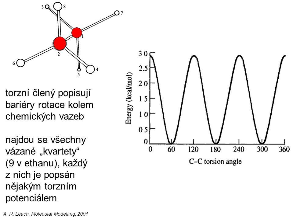 """A. R. Leach, Molecular Modelling, 2001 torzní člený popisují bariéry rotace kolem chemických vazeb najdou se všechny vázané """"kvartety"""" (9 v ethanu), k"""