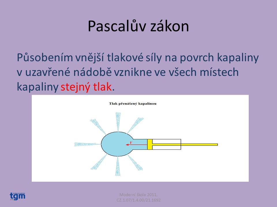 Pascalův zákon Působením vnější tlakové síly na povrch kapaliny v uzavřené nádobě vznikne ve všech místech kapaliny stejný tlak. Moderní škola 2011, C