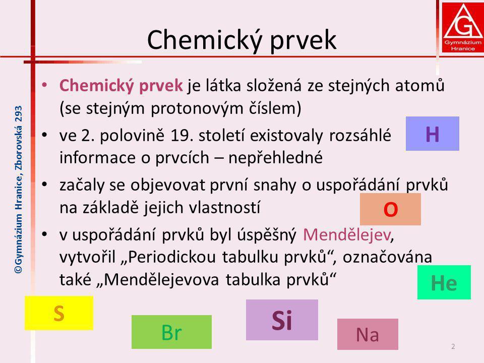 Chemický prvek Chemický prvek je látka složená ze stejných atomů (se stejným protonovým číslem) ve 2. polovině 19. století existovaly rozsáhlé informa
