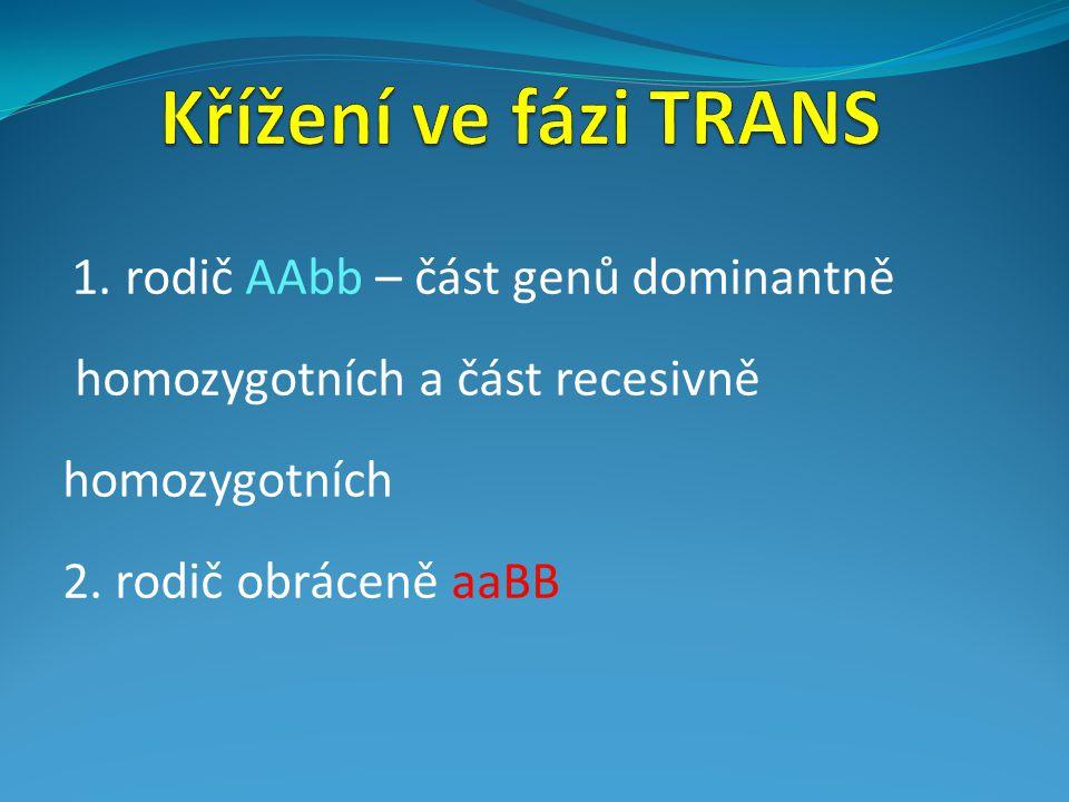 1. rodič AAbb – část genů dominantně homozygotních a část recesivně homozygotních 2. rodič obráceně aaBB