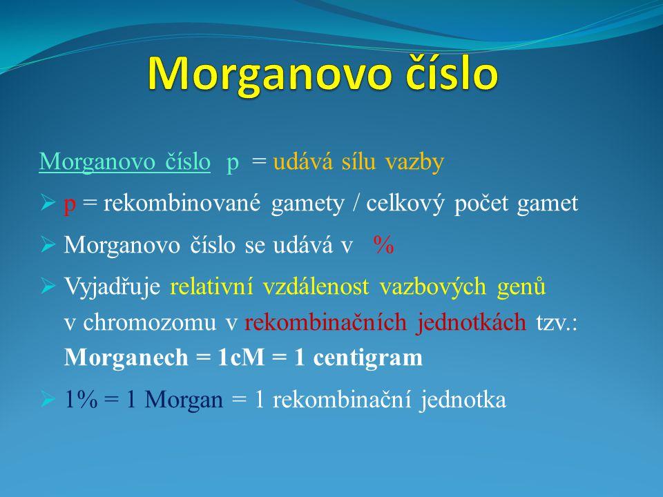 Morganovo číslo p = udává sílu vazby  p = rekombinované gamety / celkový počet gamet  Morganovo číslo se udává v %  Vyjadřuje relativní vzdálenost vazbových genů v chromozomu v rekombinačních jednotkách tzv.: Morganech = 1cM = 1 centigram  1% = 1 Morgan = 1 rekombinační jednotka