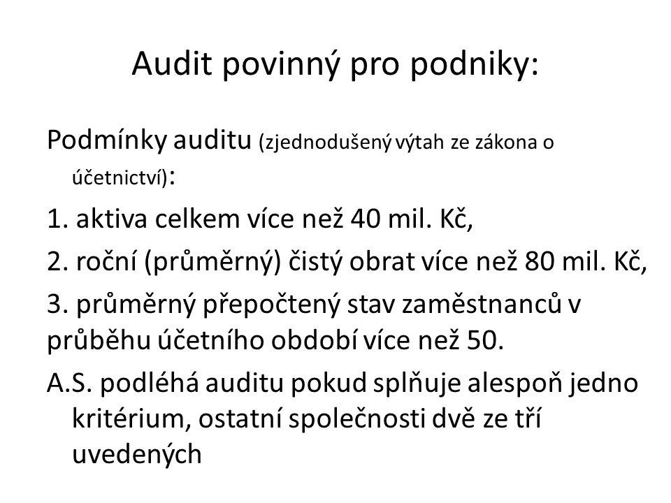 Audit povinný pro podniky: Podmínky auditu (zjednodušený výtah ze zákona o účetnictví) : 1. aktiva celkem více než 40 mil. Kč, 2. roční (průměrný) čis