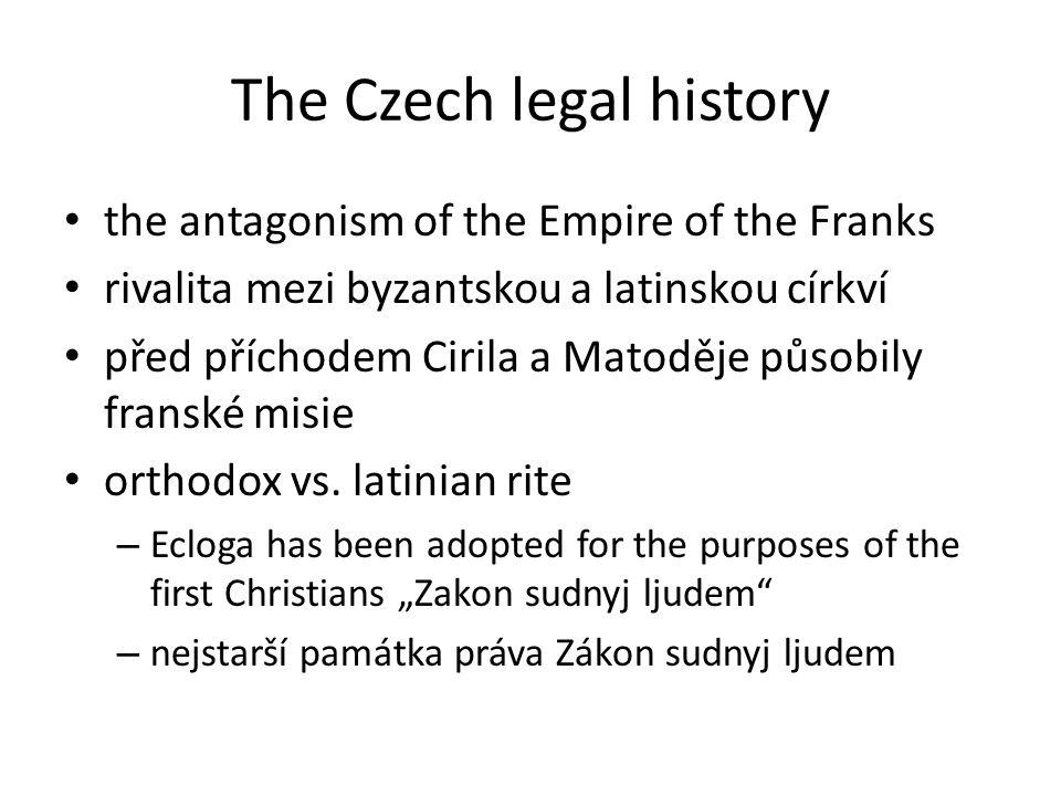 The Czech legal history – obligations among the workers (miners) and the mine tenants are deeply influenced by the Roman law – and last significant issue: Czech legal history denies the importance of the Roman law This code was applied in the silver mines in Kutna Hora and Jihlava The priniciples of this code were adopted in many countries around the world