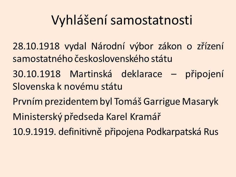 Vyhlášení samostatnosti 28.10.1918 vydal Národní výbor zákon o zřízení samostatného československého státu 30.10.1918 Martinská deklarace – připojení