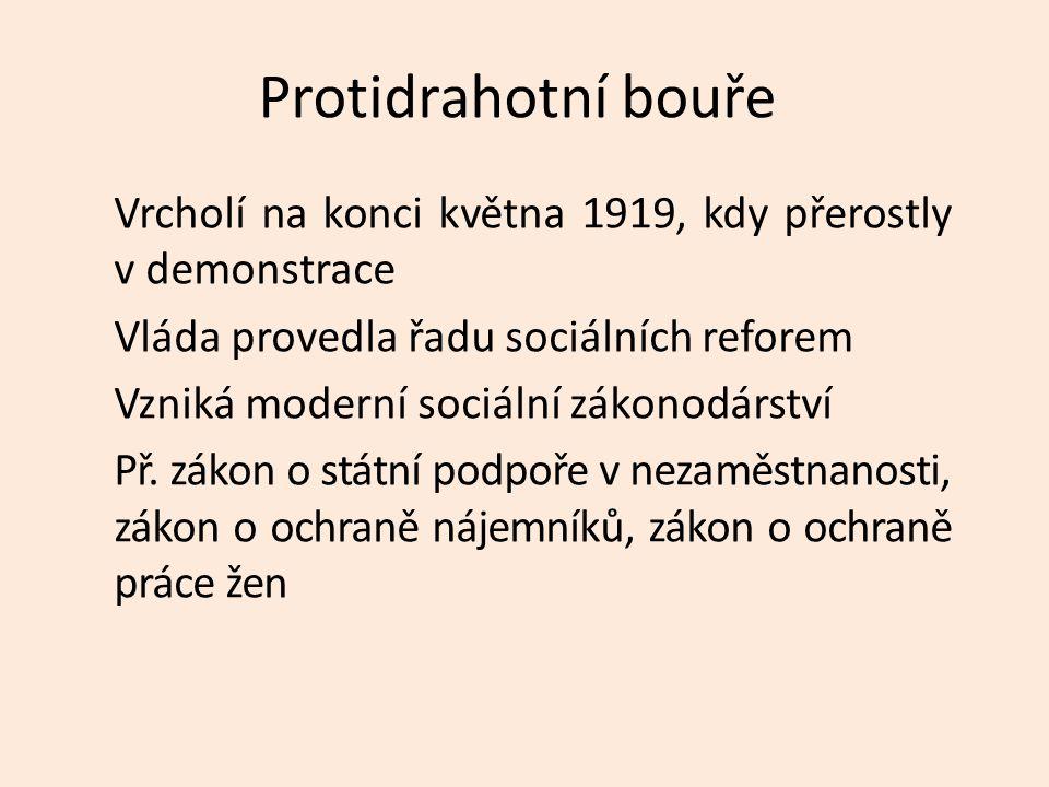 Protidrahotní bouře Vrcholí na konci května 1919, kdy přerostly v demonstrace Vláda provedla řadu sociálních reforem Vzniká moderní sociální zákonodár