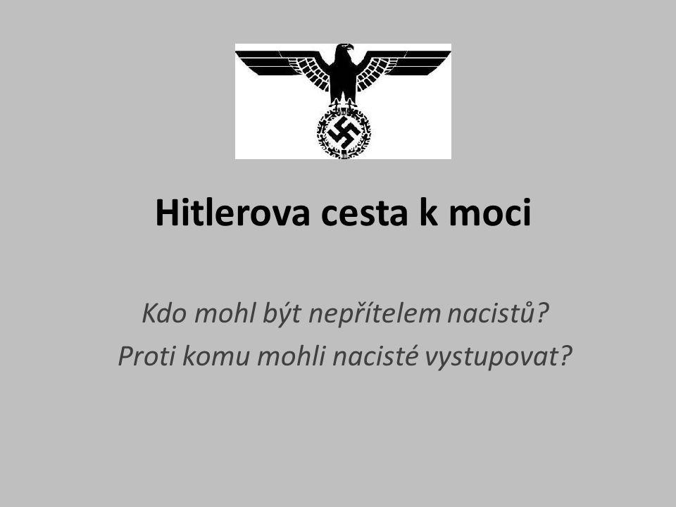 Hitlerova cesta k moci Kdo mohl být nepřítelem nacistů? Proti komu mohli nacisté vystupovat?