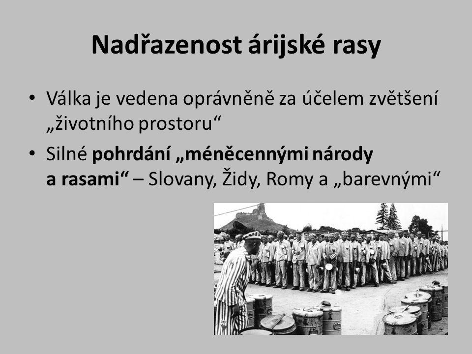 """Nadřazenost árijské rasy Válka je vedena oprávněně za účelem zvětšení """"životního prostoru Silné pohrdání """"méněcennými národy a rasami – Slovany, Židy, Romy a """"barevnými"""