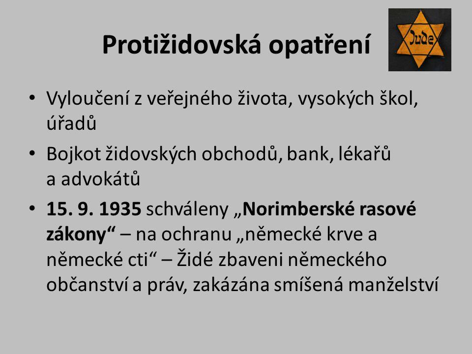 """Protižidovská opatření Vyloučení z veřejného života, vysokých škol, úřadů Bojkot židovských obchodů, bank, lékařů a advokátů 15. 9. 1935 schváleny """"No"""