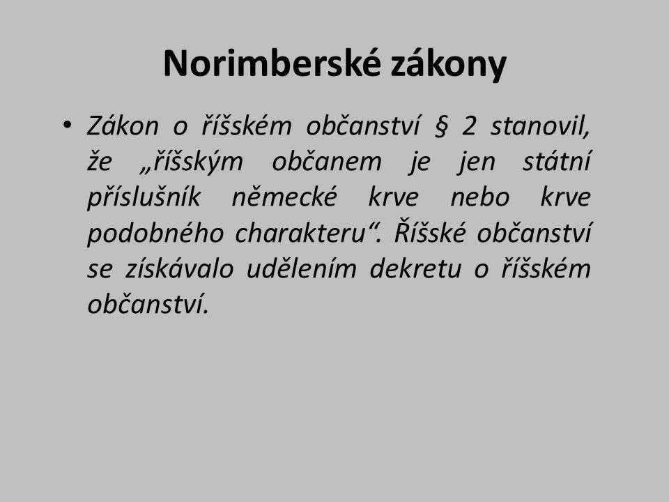 """Norimberské zákony Zákon o říšském občanství § 2 stanovil, že """"říšským občanem je jen státní příslušník německé krve nebo krve podobného charakteru""""."""
