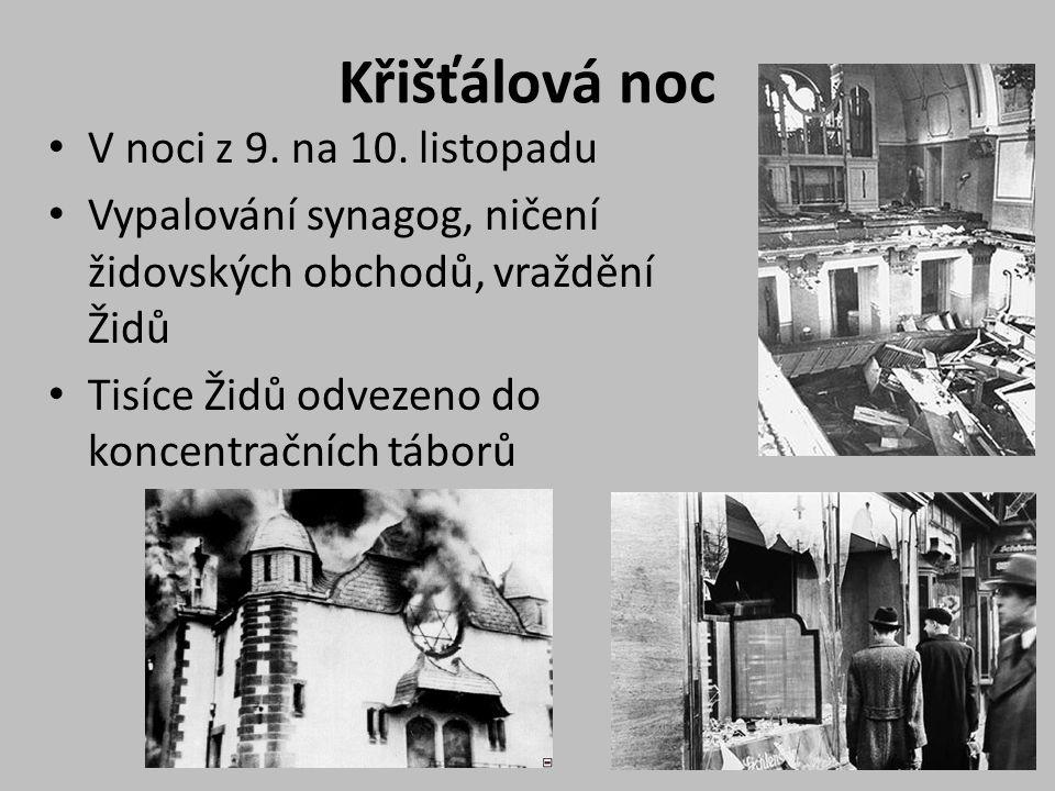 Křišťálová noc V noci z 9. na 10. listopadu Vypalování synagog, ničení židovských obchodů, vraždění Židů Tisíce Židů odvezeno do koncentračních táborů