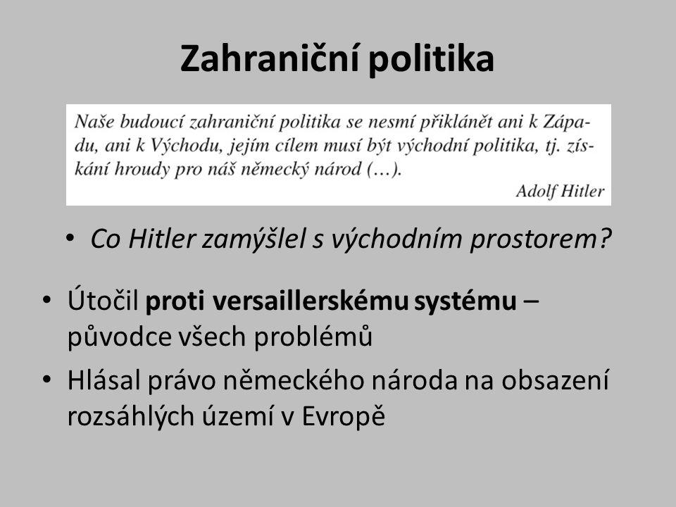 Zahraniční politika Co Hitler zamýšlel s východním prostorem? Útočil proti versaillerskému systému – původce všech problémů Hlásal právo německého nár