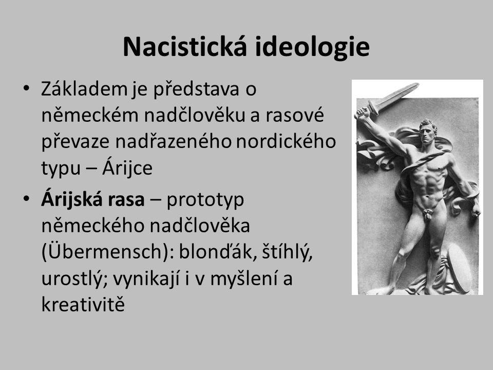 Nacistická ideologie Základem je představa o německém nadčlověku a rasové převaze nadřazeného nordického typu – Árijce Árijská rasa – prototyp německého nadčlověka (Übermensch): blonďák, štíhlý, urostlý; vynikají i v myšlení a kreativitě