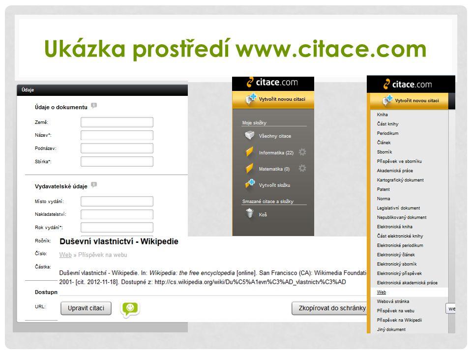 Ukázka prostředí www.citace.com