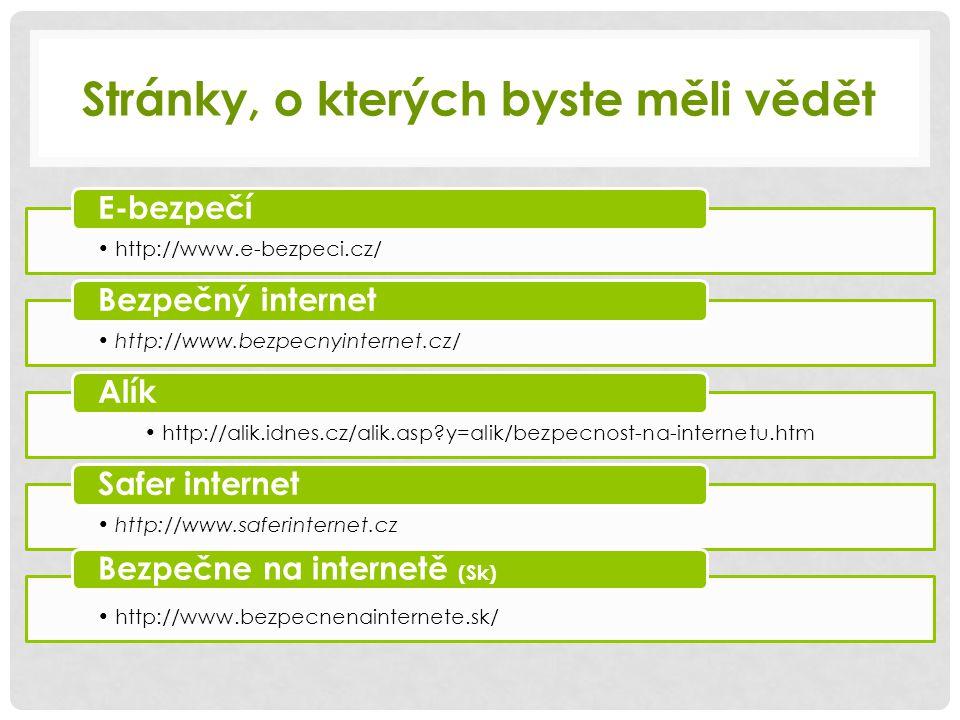 Stránky, o kterých byste měli vědět http://www.e-bezpeci.cz/ E-bezpečí http://www.bezpecnyinternet.cz/ Bezpečný internet http://alik.idnes.cz/alik.asp?y=alik/bezpecnost-na-internetu.htm Alík http://www.saferinternet.cz Safer internet http://www.bezpecnenainternete.sk/ Bezpečne na internetě (Sk)