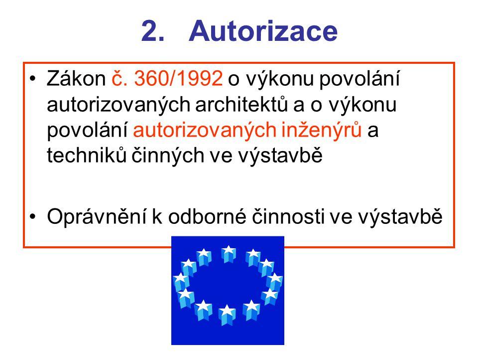 2.Autorizace Zákon č. 360/1992 o výkonu povolání autorizovaných architektů a o výkonu povolání autorizovaných inženýrů a techniků činných ve výstavbě