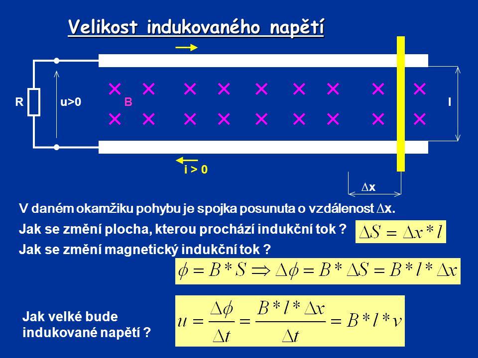 Pohybové napětí kde B-magnetická indukce (T) l-délka vodiče v magnetickém poli (m) v-rychlost pohybu vodiče (m/s) Velikost indukovaného pohybového napětí: *při rovnoměrném pohybu *indukční čáry jsou kolmé k ohraničené ploše Určení směru indukovaného napětí a proudu – pravidlo pravé ruky.
