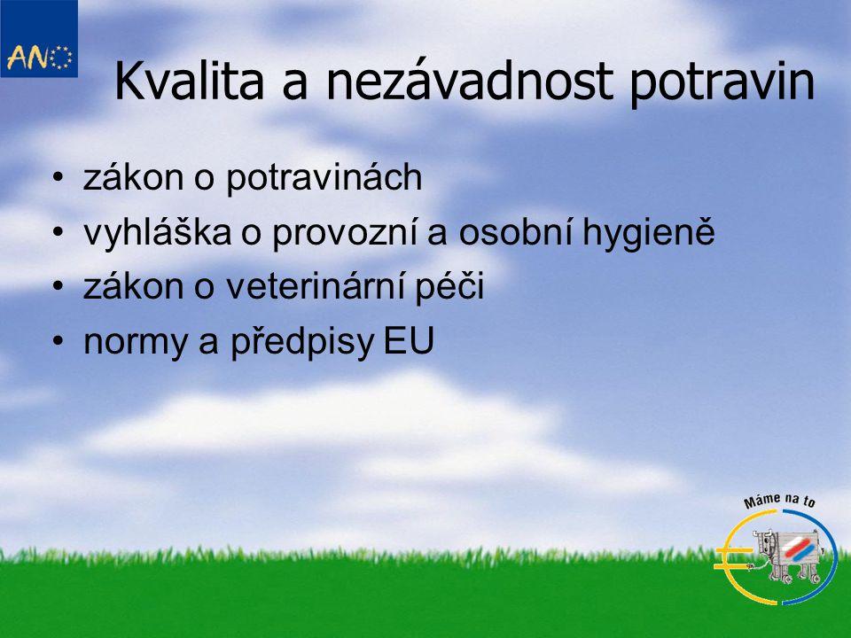 Kvalita a nezávadnost potravin zákon o potravinách vyhláška o provozní a osobní hygieně zákon o veterinární péči normy a předpisy EU