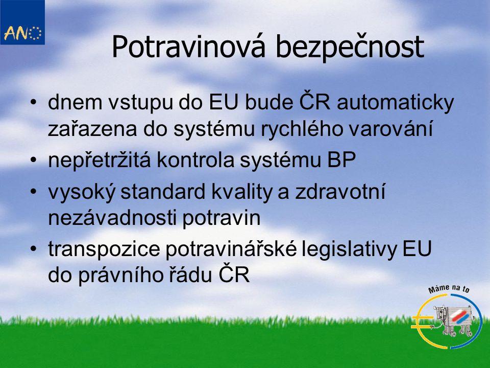 Potravinová bezpečnost dnem vstupu do EU bude ČR automaticky zařazena do systému rychlého varování nepřetržitá kontrola systému BP vysoký standard kva