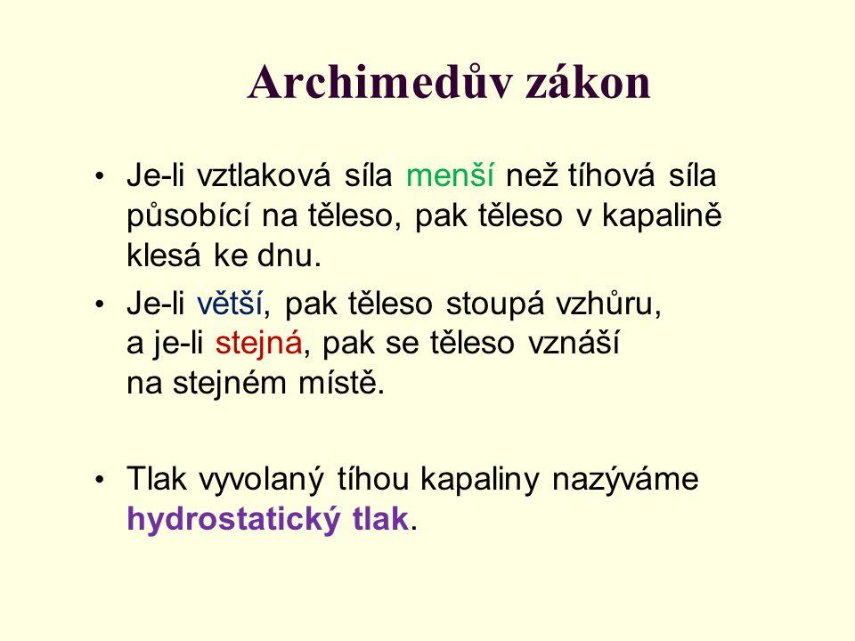 Archimedův zákon Je-li vztlaková síla menší než tíhová síla působící na těleso, pak těleso v kapalině klesá ke dnu. Je-li větší, pak těleso stoupá vzh