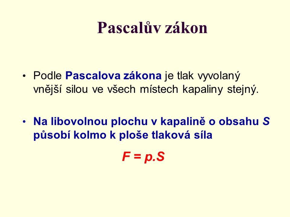 Pascalův zákon Podle Pascalova zákona je tlak vyvolaný vnější silou ve všech místech kapaliny stejný. Na libovolnou plochu v kapalině o obsahu S působ