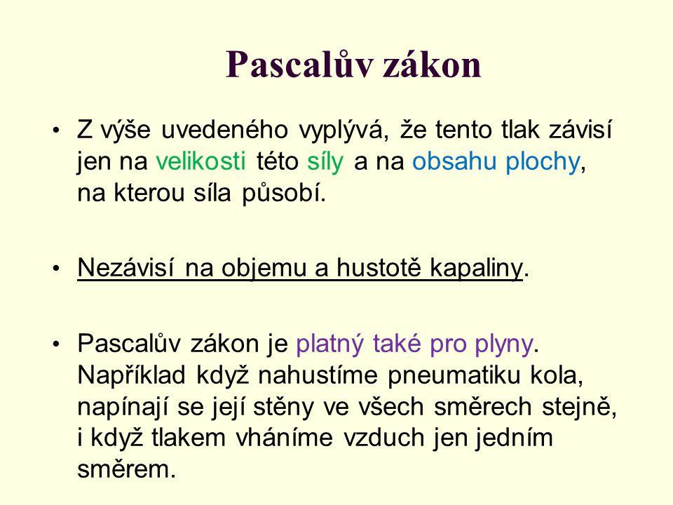 Pascalův zákon Z výše uvedeného vyplývá, že tento tlak závisí jen na velikosti této síly a na obsahu plochy, na kterou síla působí. Nezávisí na objemu