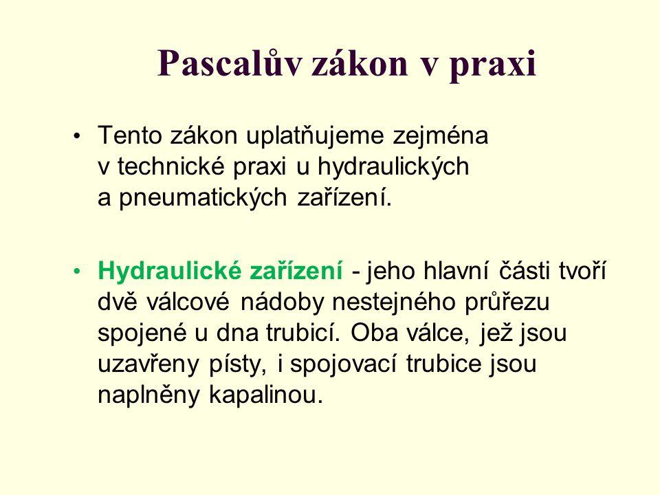 Pascalův zákon v praxi Tento zákon uplatňujeme zejména v technické praxi u hydraulických a pneumatických zařízení. Hydraulické zařízení - jeho hlavní